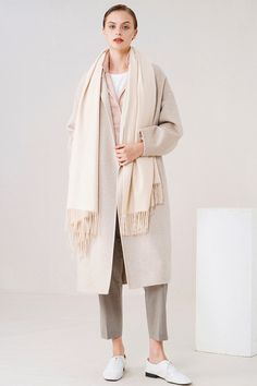 """The cashmere scarf that is created with the mind of """"comfort first"""" - almond cashmere scarf. Mens Cashmere Scarf, Cashmere Wrap, Womens Scarves, Duster Coat, Almond, Jackets, Closet, Fashion, Down Jackets"""