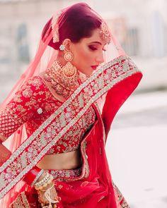Intimate Ludhiana Wedding With Pin-Worthy Bridal Portraits Indian Bridal Outfits, Indian Bridal Fashion, Indian Bridal Wear, Bridal Dresses, Pakistani Bridal, Pakistani Suits, Bridal Dupatta, Indian Lehenga, Red Lehenga
