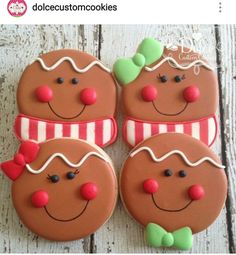 Gingerbread Boy and Girl by Dolce Custom Cookies Christmas Sugar Cookies, Christmas Cupcakes, Christmas Sweets, Noel Christmas, Christmas Goodies, Holiday Cookies, Christmas Baking, Gingerbread Cookies, Fancy Cookies