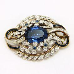 Gorgeous Vintage Large Sapphire Floral Rhinestone Enamel Trifari Brooch