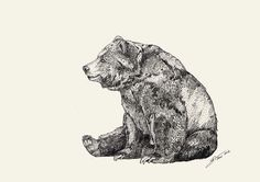 BEAR GRAPHITE // A3 print by SandraDieckmann on Etsy, £20.00