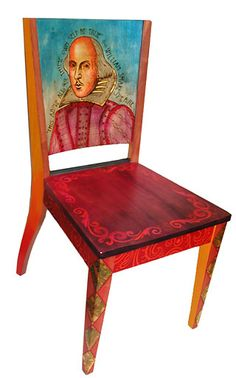 Shakespeare Painted Chair...inspiration for painting artist chairs.