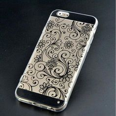iPhone 5/5S/SE Clear PolyCarbonate Case with Black Filigree Design