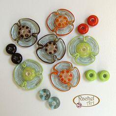 Flower Lampwork Glass Beads  Handmade Glass by Rachelcartglass