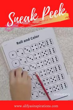 Preschool printable worksheet: Roll and color