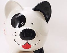 Black & White Puppy Dog Bank - Personalized Piggy Bank - Spot the Dog Bank - Puppy Piggy Bank - Pet White Puppies, Dogs And Puppies, Black Spot, Black And White, Cute Dogs, Cute Babies, Very Small Dogs, Personalized Piggy Bank, Color Me Mine