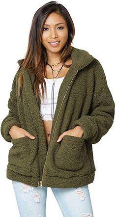 44a6f55083b8 Carprinass Women's Oversized Outwear Teddy Fleece Jacket Cozy Fuzzy Coat  Green S at Amazon Women's Coats