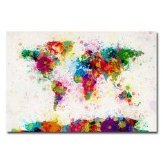"Trademark Art World Map Splashes Painting Print on Wrapped Canvas Size: 16"" H x 24"" W x 2"" D"