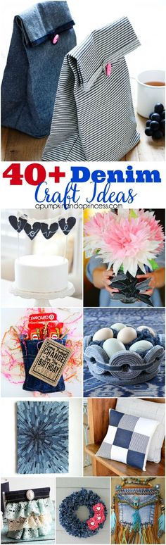 creative denim ideas - recycle old jeans into these home decor and craft ideas.Denim wreath is so cute Creative Denim IdeasMore upcycling with Denim! Creative Denim Ideas - (By: A Pumpkin And A Princess)Creative Denim Ideas That Are Great For Any Occ Upcycled Crafts, Sewing Crafts, Repurposed, Jean Crafts, Denim Crafts, Diy Jeans, Craft Projects, Sewing Projects, Craft Ideas