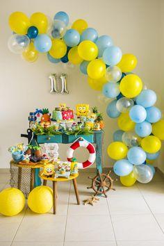 spongebob party decoration ideas do 7 a ideas para birthday spongebob birthday party decoration ideas. Diy Garland, Balloon Garland, Balloon Decorations, Balloons, Spongebob Birthday Party, Baby Birthday, Spongebob Party Ideas, Birthday Party Decorations, 25th Birthday Parties