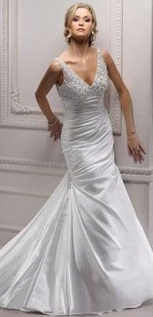 Satin Trumpet Style Wedding Gown with Empire Waist