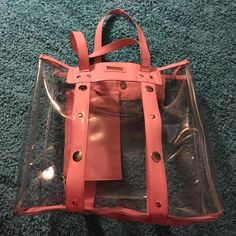 Versace pink transparent PVC tote Large! good used condition yes it's Versace. Baby pink Versace Bags Totes