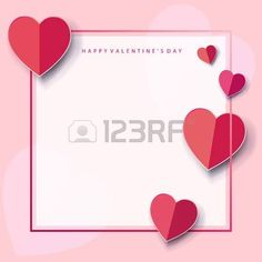 Valentines Day or Wedding Day greeting card frame with hearts, frame, festive pink background. Vector border. Romantic poster with place for text. Love, poster, banner, e-card, postcard envelope. Advertising, design, Origami Cut paper heart Illustration