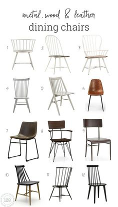 Metal, Wood And Leather Dining Chairs For The Modern Farmhouse is part of Farmhouse dining chairs - The 12 best chairs to fit the modern farmhouse dining room Arm style dining chairs, and side dining chairs in metal, wood, and leather Farmhouse Dining Chairs, Leather Dining Chairs, Metal Chairs, Kitchen Chairs, Cool Chairs, Desk Chairs, Bar Chairs, Side Chairs, Chairs For Dining Table