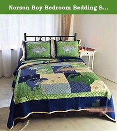 Norson Boy Bedroom Bedding Sets / Dinosaur Bedding Sets / Cartoon Bedding Patchwork Quilt / 2pcs / 3pcs (2). Soft, convex, three-dimensional sense of strong, breathable skin-friendly, quilting sewing bag, the high temperature sand, easily deformed and difficult to fade. Seasons, spring and summer can be when the lid (air conditioning is), autumn and winter can be used as bed sheets, bed covers. Gentle wash, washing maximum temperature of 30 degrees; not more than 8 minutes soaking time;...