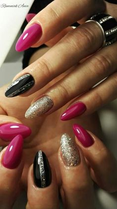 Party Nägel - Best Picture For short nails For Your Taste You are looking for something, and it is going to tell you exactly what you ar Funky Nails, Trendy Nails, Diy Nagellack, Dark Pink Nails, Pink Nail Designs, Nails Design, Party Nails, Super Nails, Fabulous Nails