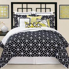 Trina Turk Palm Springs Block Black/Trellis Black & White Bedding | Gracious Style