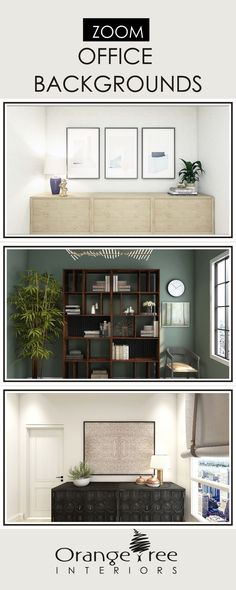 Are you working from home right now? Is the state of your home office less than ideal? If so, check out these office backgrounds for zoom. They'll transform your office space into and designer office space. Custom office designs also available. Interior Design Atlanta, Interior Design Website, Interior Design Companies, Office Interior Design, Home Office Decor, Office Interiors, Office Ideas, Study Office, Office Walls