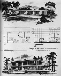 images about Mid Century Floor Plans on Pinterest   Home    Here    s a  quot house on a hill quot  plan  Next scan  a round house  Sigh  So dreamy   Publication from Home Planners