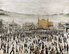 lowry fun at the fair Daisy Nook original painting Laurence Stephen Lowry, R. Fun Fair at Daisy Nook signed and dated 'L. LOWRY (lower right) oil on canvas 28 x 36 in. Salford, Tate Britain, Spencer, Fun Fair, English Artists, Daisy, Portraits, Urban Life, Urban Landscape