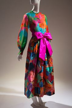 Yves Saint Laurent evening ensemble, multi-color silk organza, satin, and taffeta, 1969, France, gift of Stella Fischback