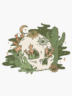 'Desert Skull' Sticker by doodlebymeg - Metarnews Sites Desenhos Halloween, Cute Drawings, Skull Drawings, Hippie Art, Sgraffito, Skull Art, Aesthetic Art, Doodle Art, Cute Art