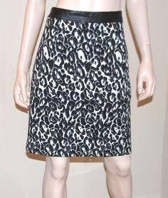 MILLY Black White Leopard Print Cotton Blend Skirt Leather Waistband Trim Waist  #Milly #StraightPencil