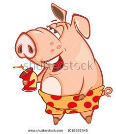 Vector Illustration of a Cute Pig. Cartoon Character : купите это векторное изображение на Shutterstock и найдите другие изображения.
