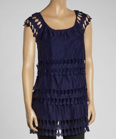 Loving this Navy Tiered Cap-Sleeve Tunic on #zulily! #zulilyfinds