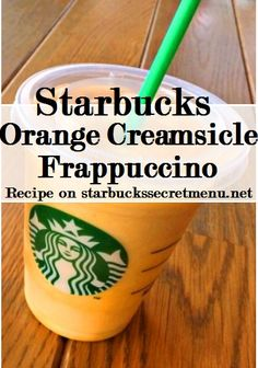 Starbucks Orange Creamsicle Frappuccino - - A play on a classic ice cream treat in Frappuccino form! You'll love this mix of orange and cream flavors that's reminiscent of a much loved frozen treat. Starbucks Hacks, Starbucks Secret Menu Drinks, Starbucks Frappuccino, Starbucks Coffee, Frappuccino Recipe, Smoothies, Smoothie Drinks, Secret Menu Items, Orange Creamsicle