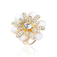 Elegantná brošňa v tvare kvetu s kryštálmi a opálovými kameňmi