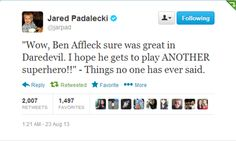 And yet another reason Jared Padalecki is tops on my 'favorite famous peeps list' ....
