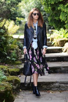 Floral dress, denim shirt, leather jacket, ankle boots, fashion blogger street style EJSTYLE