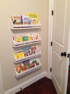 Wall Hanging Bookshelves love!! turn old hymnal racks into wall mount bookshelves