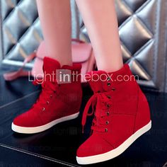 New Womens Shoes Lace Up Fashion Sneakers Wedges Ankle Boots High Heels Casual