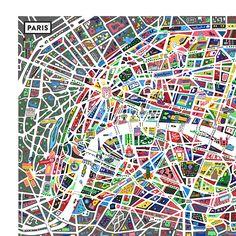 Paris, Paris ... J'aime Paris! Une carte de Paris par l'Atelier Antoine Corbineau.