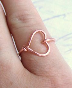 Sweetheart Ring Heart Ring Copper Gold Silver Ring Wire Wrap Ring I Love You Ring Friendship Ring Bridesmaids Gift Jewelry Gifts Under 10 via Etsy
