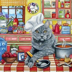 Art Print / Cat in The Kitchen from my by kMadisonMooreFineArt - k. Madison Moore