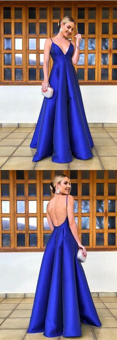 Long Satin Empire Evening Gowns V-neck Prom Dresses Shop plus-sized prom dresses for curvy figures and plus-size party dresses. Ball gowns for prom in plus sizes and short plus-sized prom dresses for Royal Blue Prom Dresses, Blue Party Dress, Prom Dresses For Teens, V Neck Prom Dresses, Cheap Prom Dresses, Wedding Party Dresses, Trendy Dresses, Blue Dresses, Summer Dresses