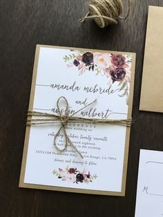 Floral Wedding Invitation tied with twine. Floral Wedding Invitation tied with twine. diy rustic wedding invitations with twine, blush floral Country Wedding Invitations, fall weddings, spring weddings White Floral Wedding Inv. Country Wedding Invitations, Rustic Invitations, Invitation Design, Wedding Stationery, Floral Invitation, Burgundy Wedding Invitations, Invitation Wording, Invitation Ideas, Party