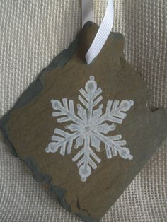 Vintage Slate OOAK Handpainted Snowflake by SlatedInSpirit on Etsy