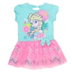 Disney Frozen Elsa Girls Fashion Dress With Ruffles      Color Teal And Pink     Sizes 2T 3T 4T     Made From 100% Polyester     Brand Disney Frozen     Officially Licensed Disney Frozen Elsa Dress