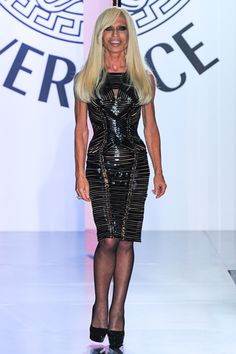 Donatella #Versace rocking the Runway @ Versace #HauteCouture A/W 2013!  Admirable for her style sense, business acumen, character and looks!