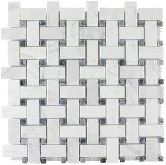 Hamptons Basketweave Stone Mosaic Tile in Carrara