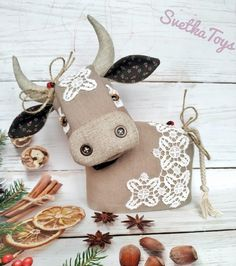 Golden Calf, Toy Organization, Cotton Lace, Horns, Cow, Textiles, Symbols, Christmas Ornaments, Sewing