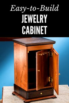 Learn how to build this Jewelry Cabinet with our free plan. Beginner Woodworking Projects, Diy Woodworking, Cabinet Plans, Workshop Organization, Jewelry Cabinet, Wood Working For Beginners, Make And Sell, Furniture Making, Crafts To Sell
