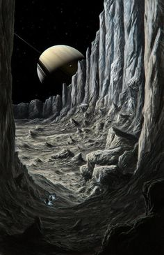 The late, great Chesley Bonestell. Space Fantasy, Sci Fi Fantasy, Fantasy World, Science Fiction Kunst, Arte Sci Fi, Digital Foto, Space Artwork, 70s Sci Fi Art, Classic Sci Fi