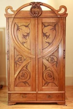 Art Nouveau Furniture | Hungarian Art Nouveau figured ash armoire late, 19th century…