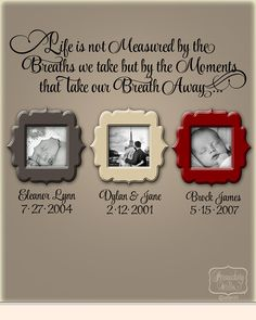 Items similar to Life is not measured by the Breaths we Take. - vinyl wall quote with Personalized name and date lettering- choose your color on Etsy Vinyl Wall Quotes, Wall Vinyl, Wall Decals, Family Wall Quotes, Wall Sayings, Home And Deco, Picture Wall, Picture Frames On The Wall Stairs, Photo Wall
