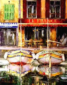 Cafe Le France - 39x 31 Giclee on Canvas Edition of 100